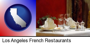 Los Angeles, California - a French restaurant table setting