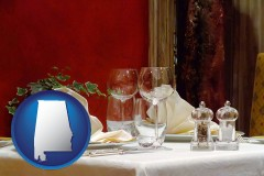 alabama map icon and a French restaurant table setting