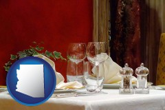 arizona map icon and a French restaurant table setting