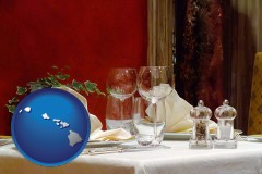 hawaii map icon and a French restaurant table setting