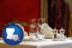 louisiana map icon and a French restaurant table setting