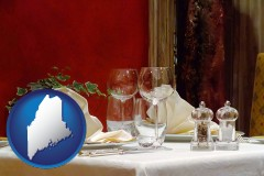 maine map icon and a French restaurant table setting