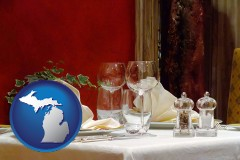 michigan map icon and a French restaurant table setting