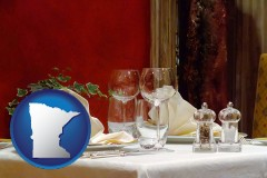 minnesota map icon and a French restaurant table setting