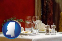mississippi map icon and a French restaurant table setting