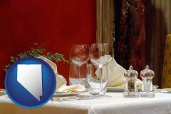 nevada map icon and a French restaurant table setting