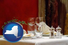 new-york map icon and a French restaurant table setting