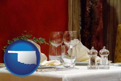 oklahoma map icon and a French restaurant table setting