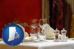 rhode-island map icon and a French restaurant table setting