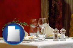 utah map icon and a French restaurant table setting