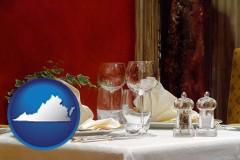 virginia map icon and a French restaurant table setting