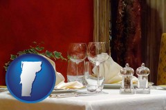 vermont map icon and a French restaurant table setting