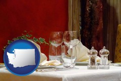 washington map icon and a French restaurant table setting
