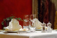 a French restaurant table setting