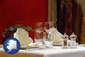 a French restaurant table setting - with Alaska icon
