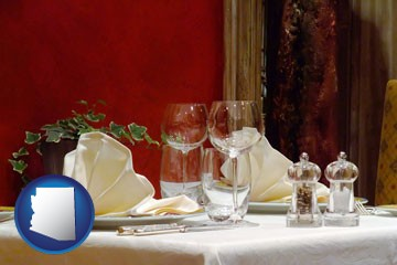 a French restaurant table setting - with Arizona icon