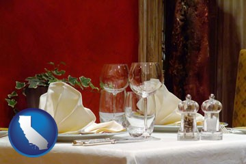 a French restaurant table setting - with California icon
