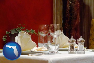 a French restaurant table setting - with Florida icon
