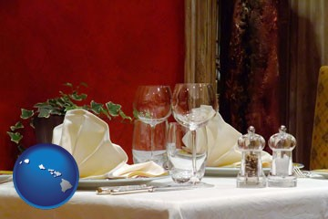 a French restaurant table setting - with Hawaii icon