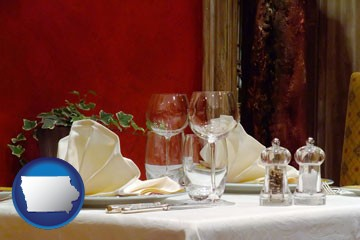 a French restaurant table setting - with Iowa icon