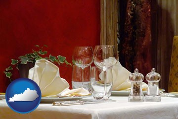 a French restaurant table setting - with Kentucky icon