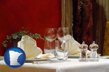a French restaurant table setting - with Minnesota icon