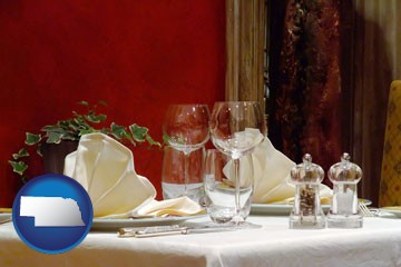 a French restaurant table setting - with Nebraska icon
