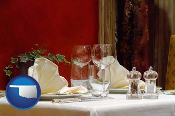 a French restaurant table setting - with Oklahoma icon