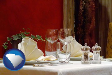 a French restaurant table setting - with South Carolina icon