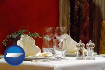 a French restaurant table setting - with Tennessee icon