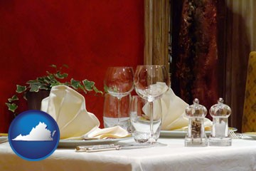 a French restaurant table setting - with Virginia icon
