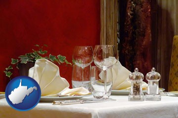 a French restaurant table setting - with West Virginia icon